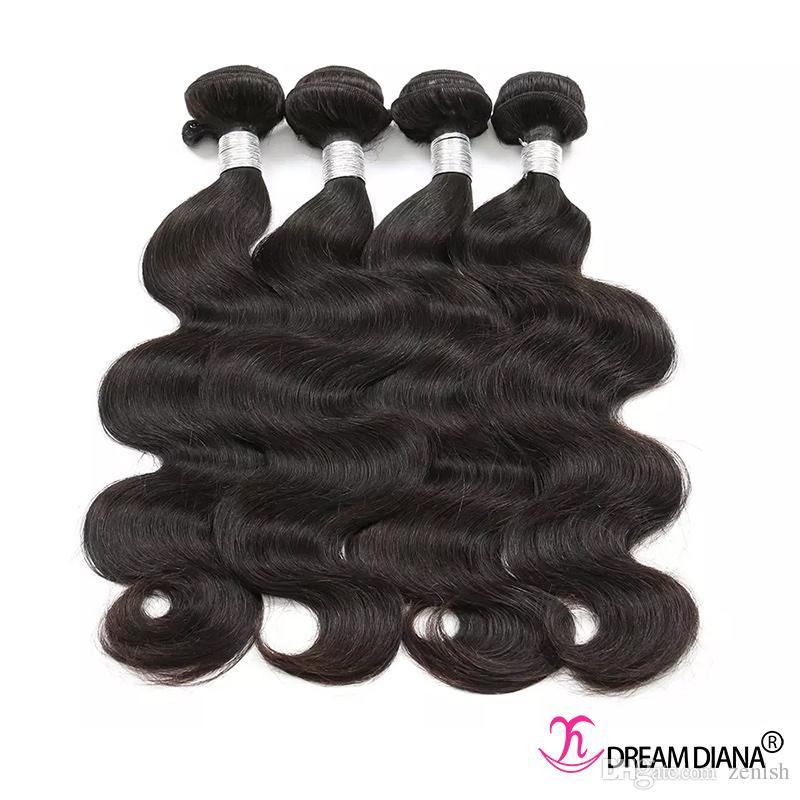El cabello brasileño teje el cuerpo de la onda del cuerpo del cuerpo del cuerpo de la virgen sin procesar los paquetes gruesos Grado 10a cabello humano 3 o 4 paquetes remy la misma dirección cutícula