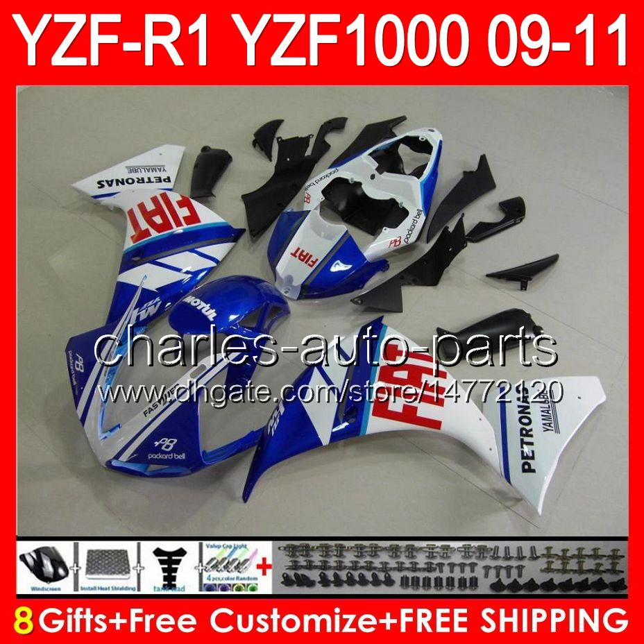 gloss blue 8gifts Body For YAMAHA YZFR1 09 10 11 YZF-R1 09-11 95NO86 YZF 1000 YZF R 1 YZF1000 YZF R1 2009 2010 TOP black white 2011 Fairing