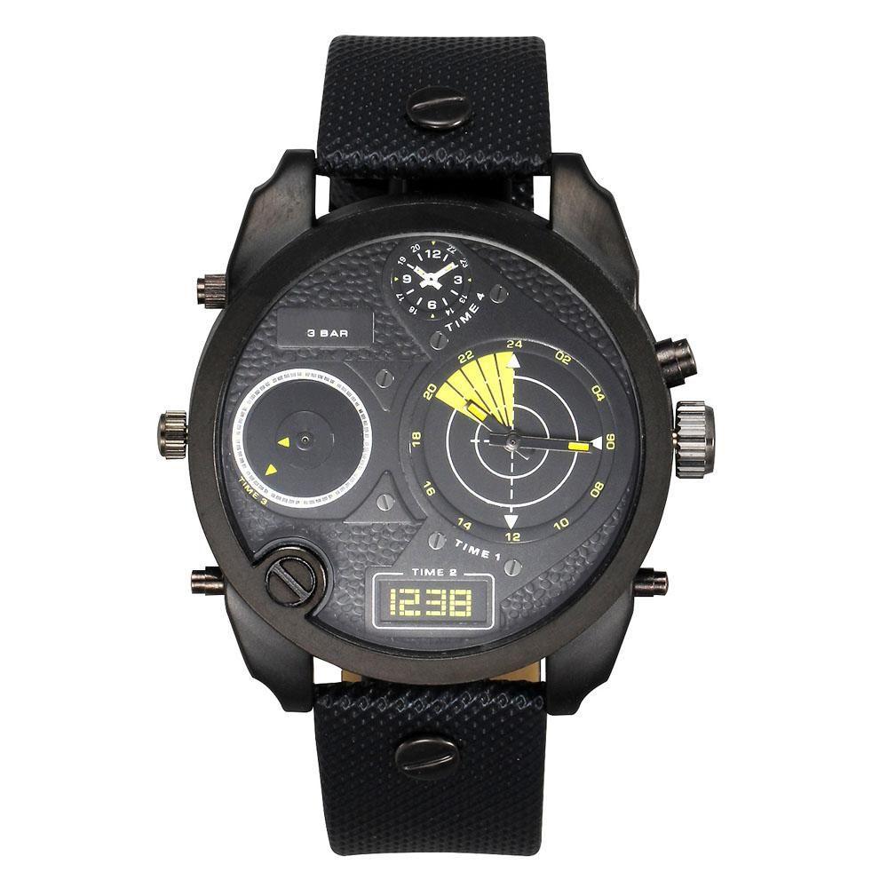 Fashion Brand 7296 Men's Big Case Mutiple Dials Display Leather Strap Quartz Wrist Watch watches