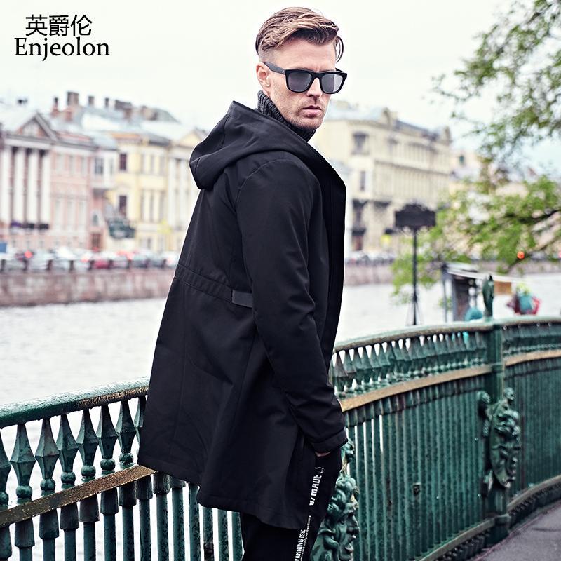 Enjeolon Marque Bomber Casual longue vestes coupe-vent hommes, vêtements d'extérieur Noir Manteaux Taille Plus 3XL Veste Vêtements JK0429