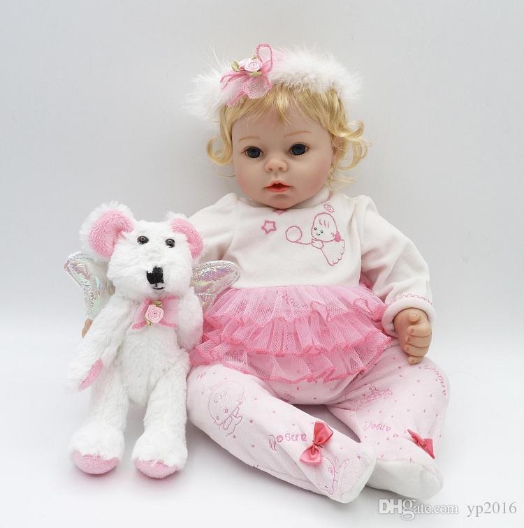 22 pollici Realistici Cotton Body Babies Silicone morbido Realistic Reborn Baby Dolls Peso ponderato per bambine