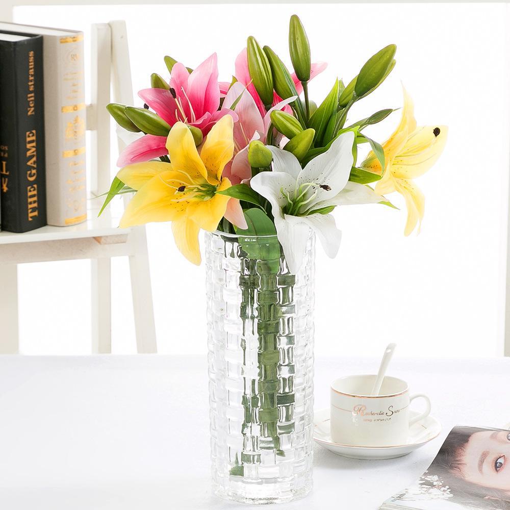 3 머리 진짜 터치 PVC 향수 백합 신선한 스타일 데스크 장식품 인공 꽃 장식 시뮬레이션 꽃