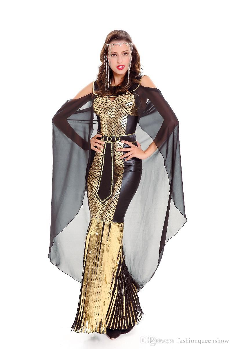Femmes Superbe Princesse Egyptienne Reine Dress Halloween Cosplay Costume Sexy Grec Déesse Romaine Impératrice Déguisement