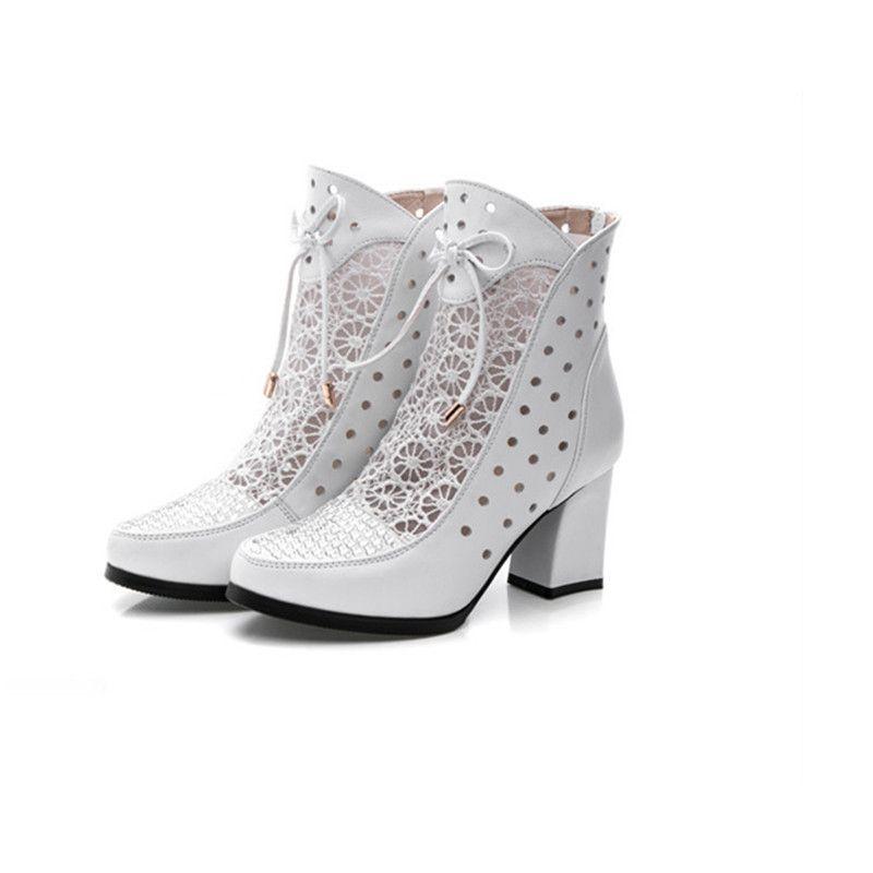 Haute Qualité Femmes Bottes En Cuir Véritable Bottines Dentelle Bottes D'été Zapatos Chaussures Femme Carré À Talons Hauts Femmes Chaussures