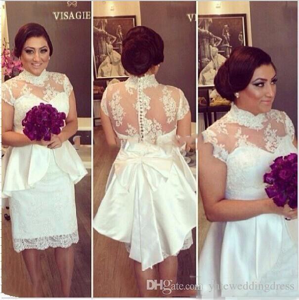2017 Short White Prom Dresses High Neckline Short Sleeves Homecoming Dresses Back Zipper Sheath knee-Length Peplum Custom Cocktail Gowns