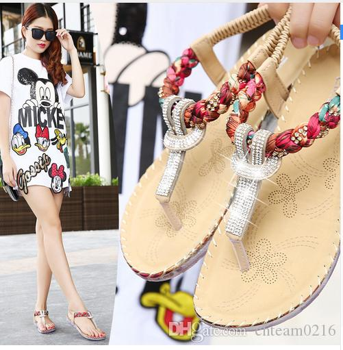 Women Sandals Exquisite Diamond Bohemian National Rhinestone Fashion Flat Shoes Large Size Casual Shoes Summers Sandals Black