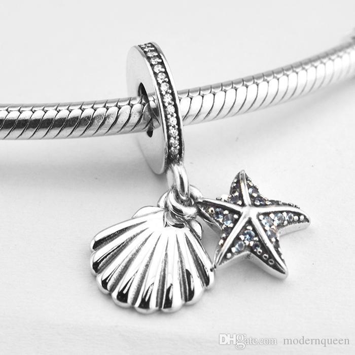 5 PCS / LOT Starfish Sea Shell Charms Colgantes 925 Sterling Silver Fits Original Brand Bracelets 792076CZF H9