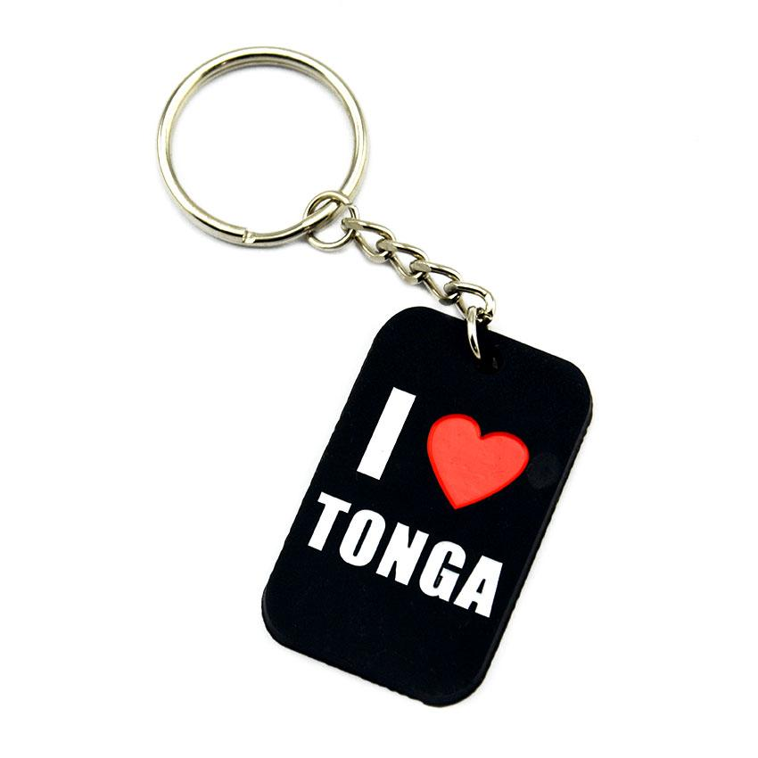 1PC I Love Tonga Silicone Dog Tag Keychain Perfect To Use In Any Benefits Gift for Music Fans