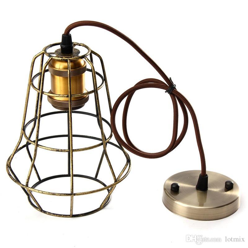 Retro Vintage Edison Pendant Light Bulb Iron Guard Wire Cage Ceiling Hanging Light Fitting Bar Cafe Lampshade DIY Lamp Base