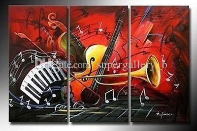 Framed 3Panel Handpainted Modern Abstract Art Oil Painting Musical Instruments,Home Wall Decor on High Quality Canvas size can be customized