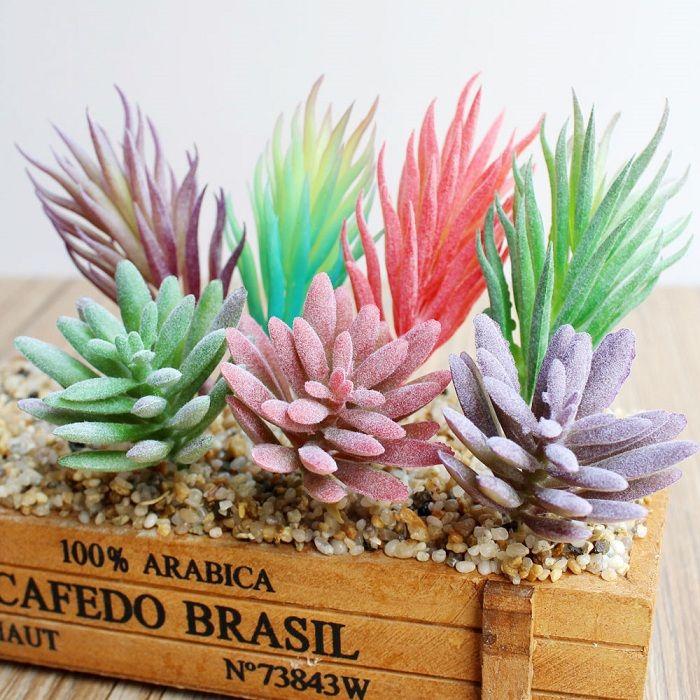 Planta suculenta Artificial Flor grama colorida linda para Festa de Casamento de Aniversário casa decoração artesanato DIY favor do chuveiro de bebê etc