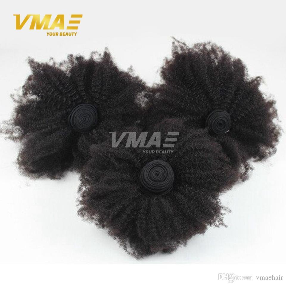 8A 몽골어 변태 곱슬 처녀 머리 아프로 비꼬 곱슬 머리 3 번들 (b) (c) 곱슬 위브 인간의 머리카락 확장 흑인 여성