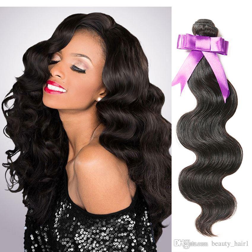 8A peruviana dell'onda del corpo singolo fascio non trattato naturale nero peruviano dei capelli del virgin dell'onda del corpo 1 pz 100 tessuto dei capelli umani all'ingrosso