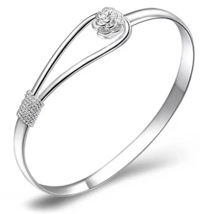2017 new fashion high quality Bracelets 925 sterling silver rose flower cuff bracelet fashion bangle for women jewelry bangles