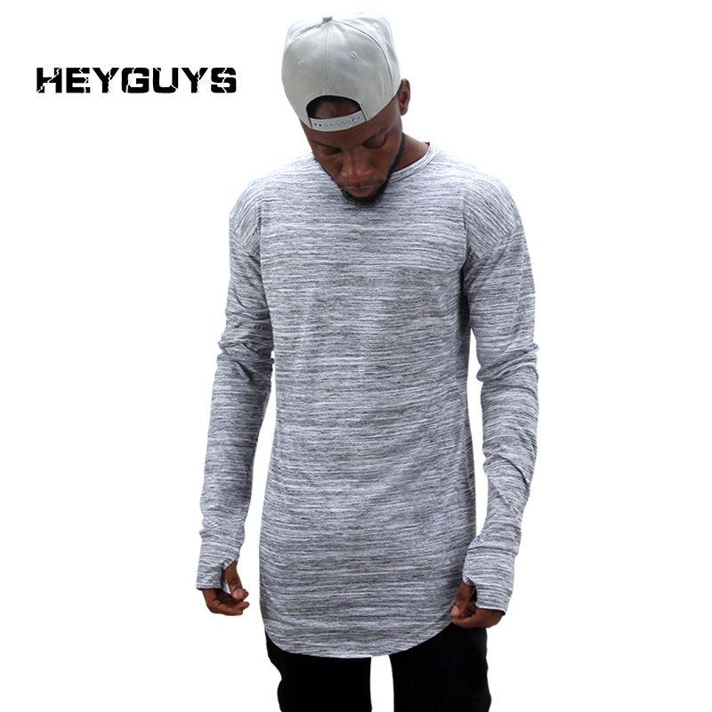 Канье Уэст 2017 продлить хип-хоп Т-рубашки оптом модный бренд Т рубашки мужчины лето длинный рукав Сверхразмерные дизайн держать рука