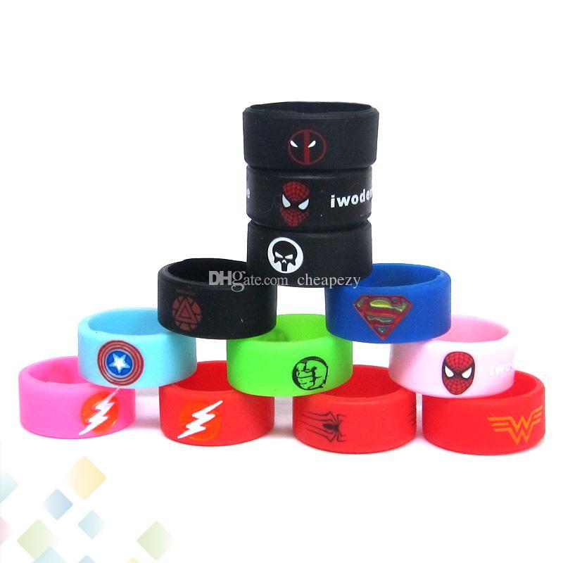 Vape banda anéis de silicone com superman flash capitão américa logotipo colorido anéis de borracha fit rda rta atomizador mods dhl livre