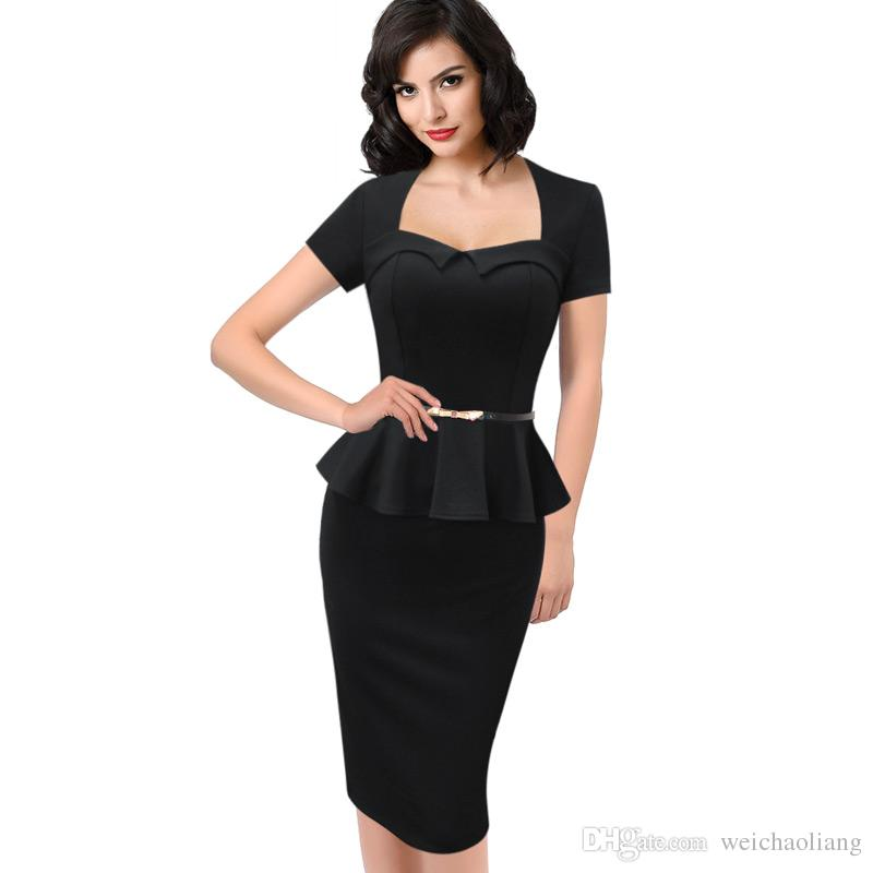 Lcw New design Women's Elegant Vintage Peplum Belted Work Office Business Casual Party Bodycon Fitted Sheath Pencil Dress