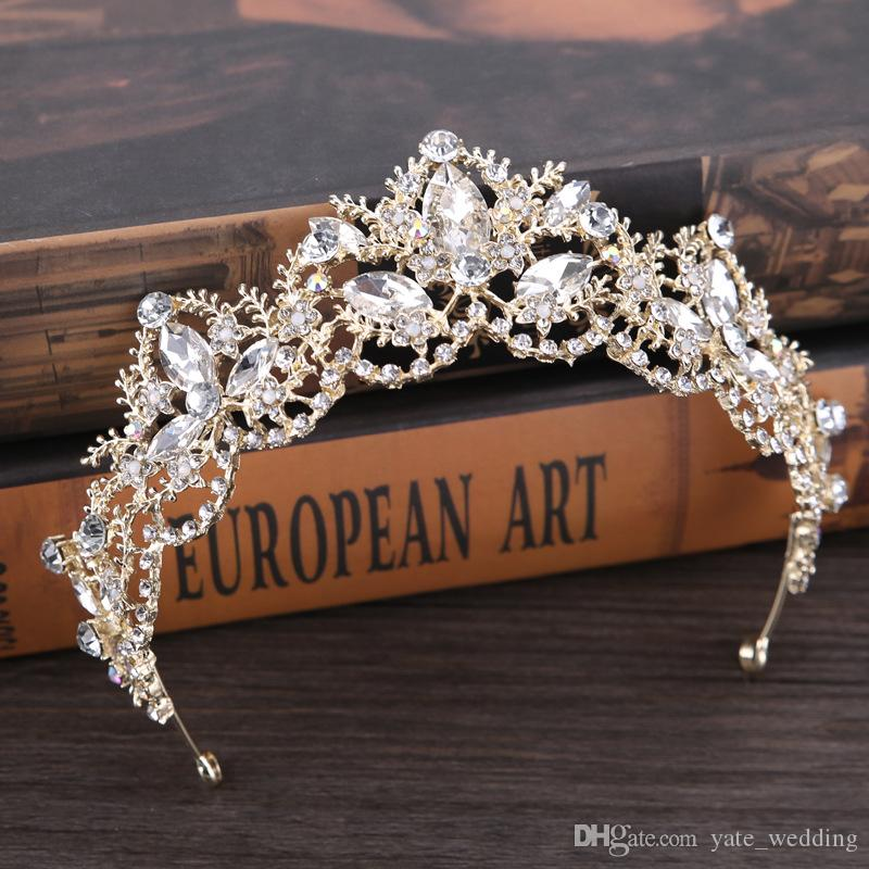 Cristal de oro claro Tiara Tiara Swarovski Rhinestone Crown Crown de lujo Tiara Tiara Puricura de novia Accesorios para el cabello