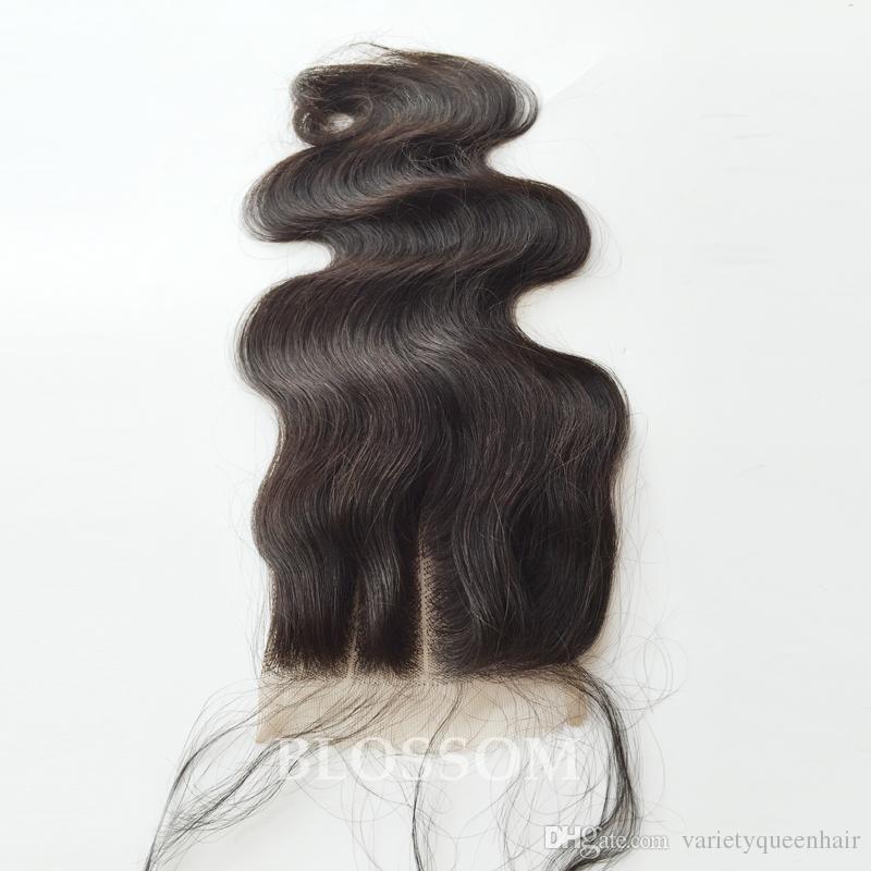 Chiusura del merletto delle 3 parti del merletto dei capelli peruviani vergini del corpo 100% 4x4 Colore naturale chiusura superiore del pizzo di colore marrone medio di 8-20 pollici
