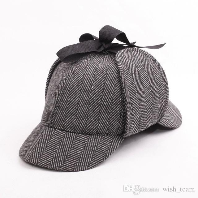 Hot selling Sherlock Holmes Detective Baseball Hat Vintage Deerstalker Unisex Cap Two Brims Strip Big Small Size Earflap Hat Cap