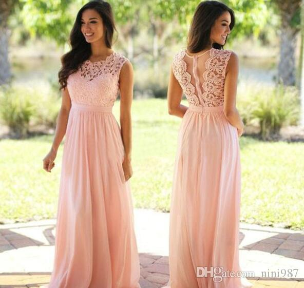2017 Lace Applique Elegant Bridesmaid Dresses Jewel Sleeveless Wedding Guest Dress Sheer Back Zipper Sweep Train Chiffon Cheap Formal Gown