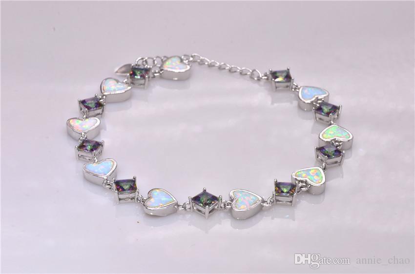 Vendita al dettaglio all'ingrosso Moda 7.5 pollici Fine Rinbow bianco fuoco opale braccialetto 925 gioielli nastro per le donne _DSC3155