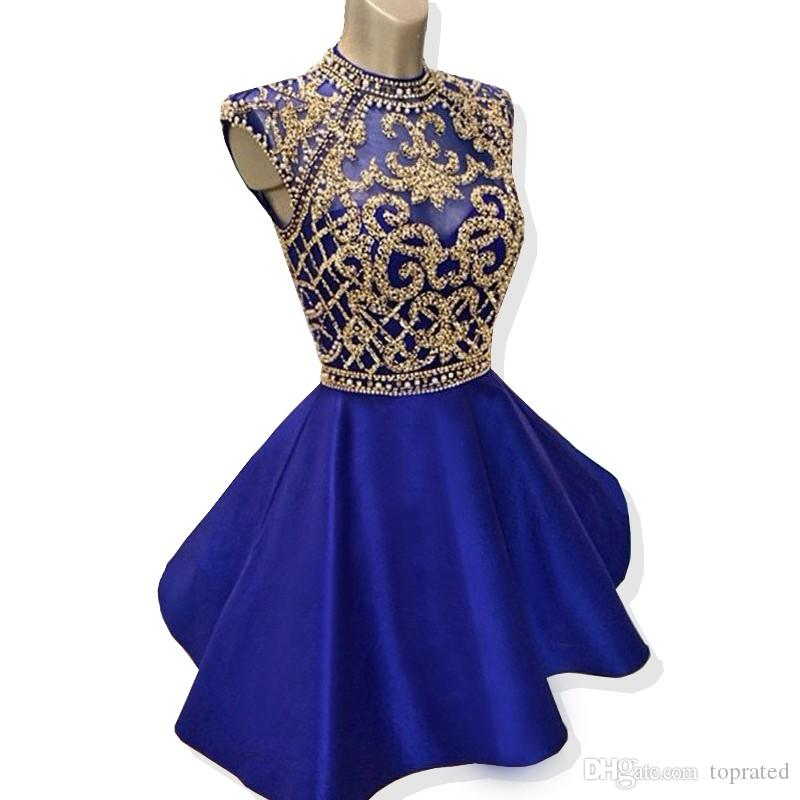 Sparkly Short Homecoming Dresses 2019 A-line High Neck Cap Sleeve Beaded Backless Royal Blue 8th Grade Graduation Dresses Prom Gowns