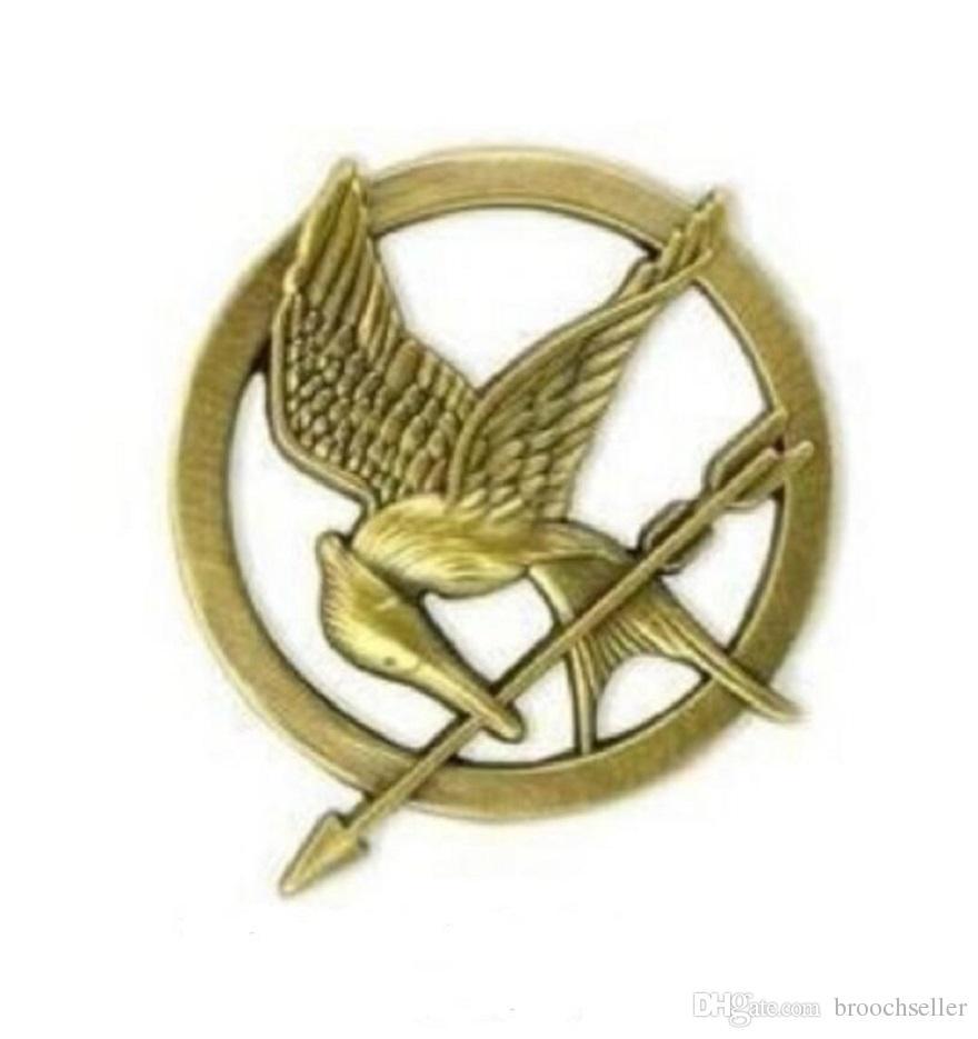 1,3 pollici bronzo antico placcato in oro The Hunger Games Mockingjay Pin uccello e spilla a forma di freccia