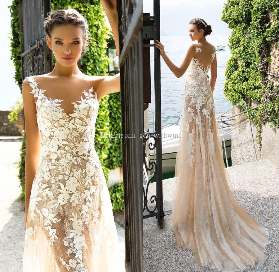 Blush Nude 3d Flora Appliques Lace Mermaid Wedding Dresses 2017 ...
