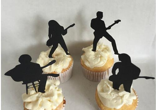 Custom 30pcs Guitarist Silhouette cupcake toppers Bachelorette Hem night music Party Supplies wedding birthday baby shower party toothpicks