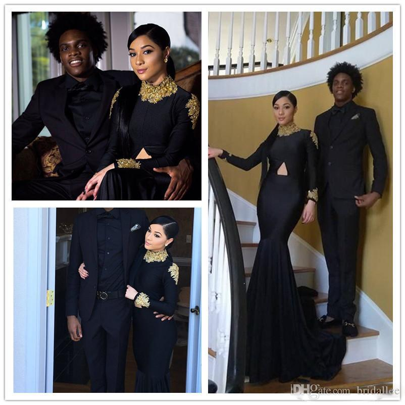Black Long Sleeves Prom Dresses 2k17 High Neck Sequins Gold Lace Applique Mermaid Arabia Party Dress Black Gril Gowns Dresses Long Floral Prom Dresses