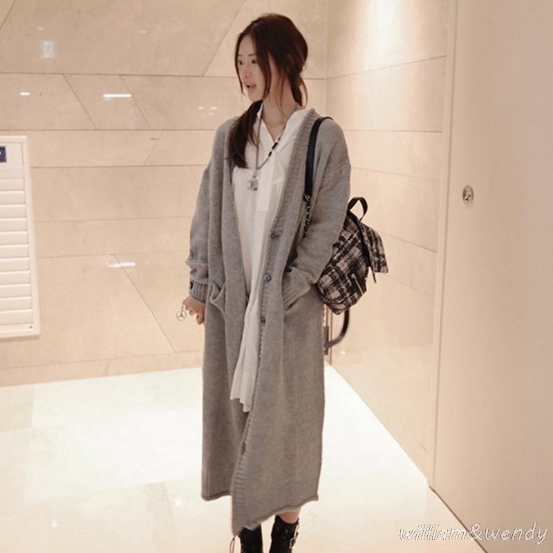 Toptan-2017 kadın Örme Kazak Hırka Panço Uzun Jersey Pist Tasarımcısı Kore Moda Gevşek Örgü Jumper Ceket Kadın Pelerin