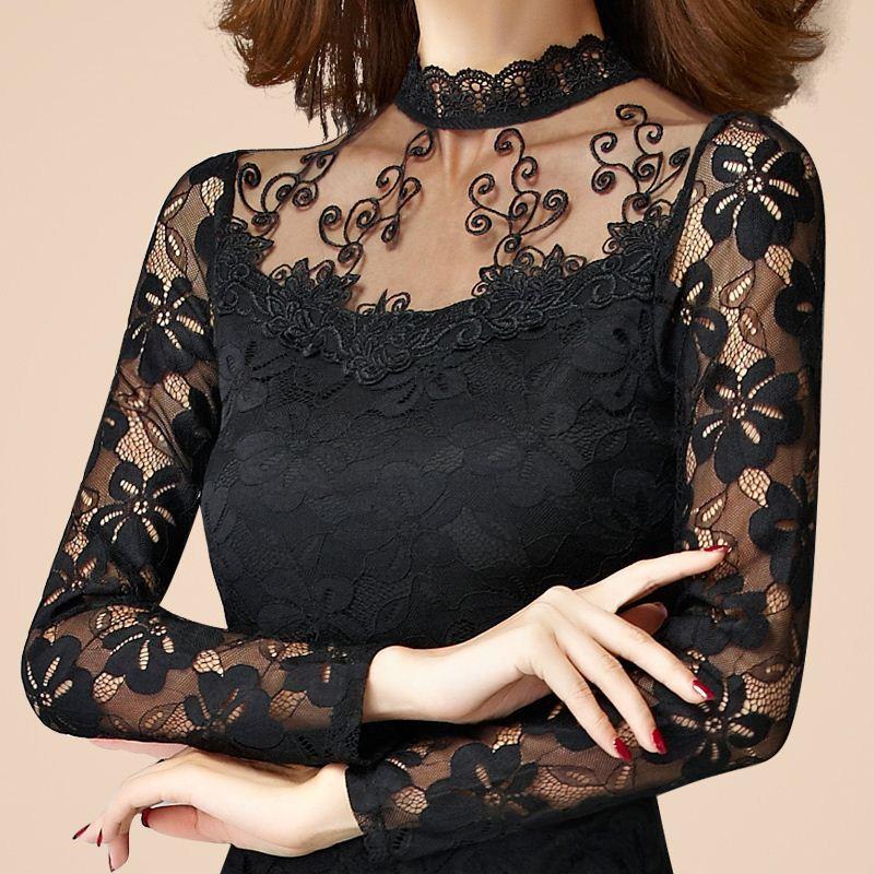 더하기 크기 4XL 셔츠 여성 2016 봄 가을 새로운 패션 섹시 슬림 메쉬 중공 레이스 긴 소매 우아한 블라우스 탑스 JN877