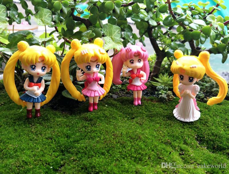 4pcs ragazze dai capelli lunghi figura decorazione casa terrario figurine Resina Craft Oranment fata Garden miniature bonsai Gnome