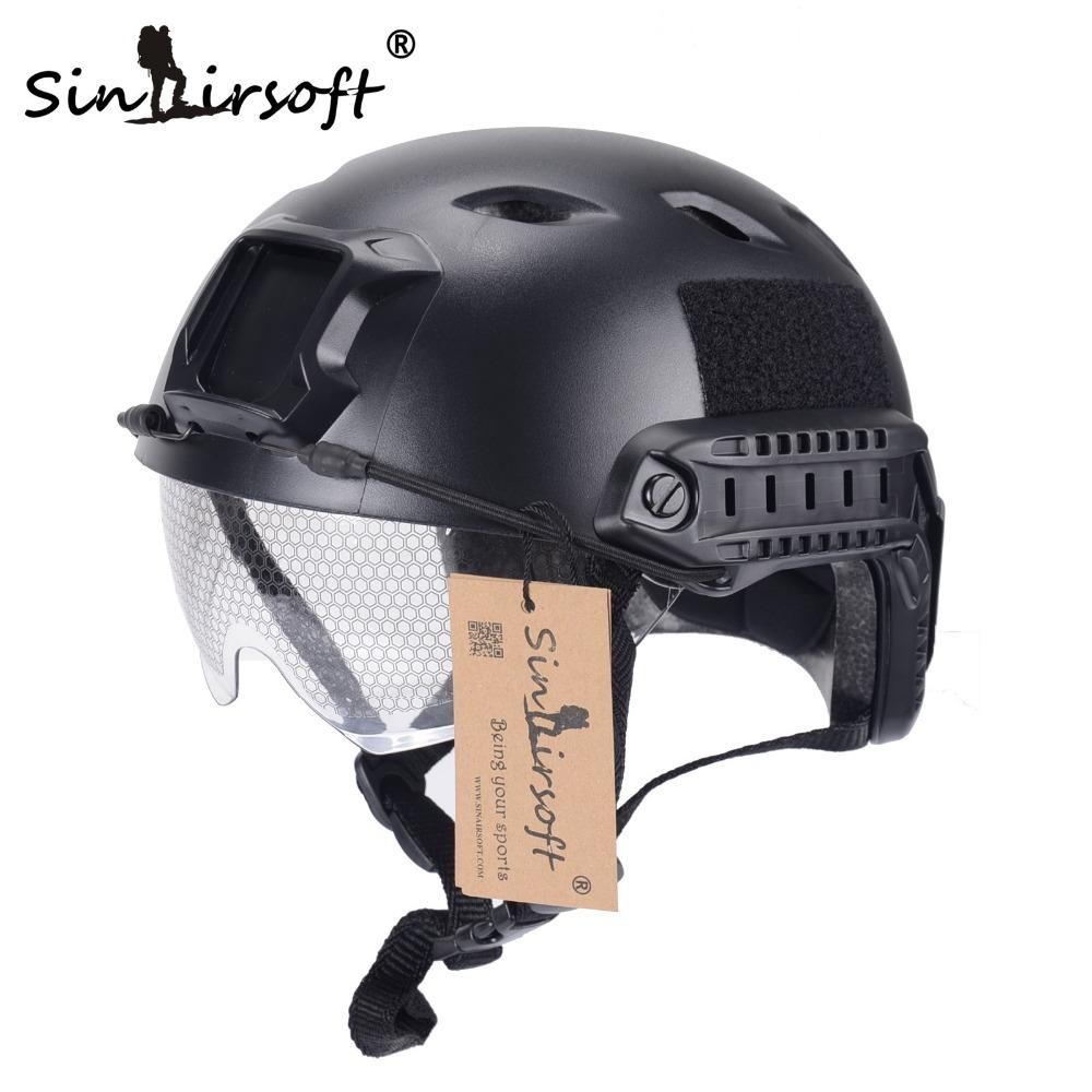 SINAIRSOFT FAST Helmet con gafas protectoras BJ Type Airsoft Helmet tactical Army Helmet Paintball
