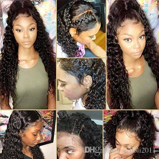 360 Lace Frontal Wig cap for black women deep wave curly lace front brazilian Human Hair Wig for Black Women (18inch with 130% density)