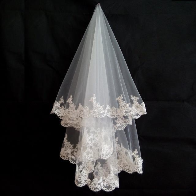 Real Photo de 1,5 metros de boda Accesorios de boda del velo de novia de encaje apliques Accesorios velo de tul de novia