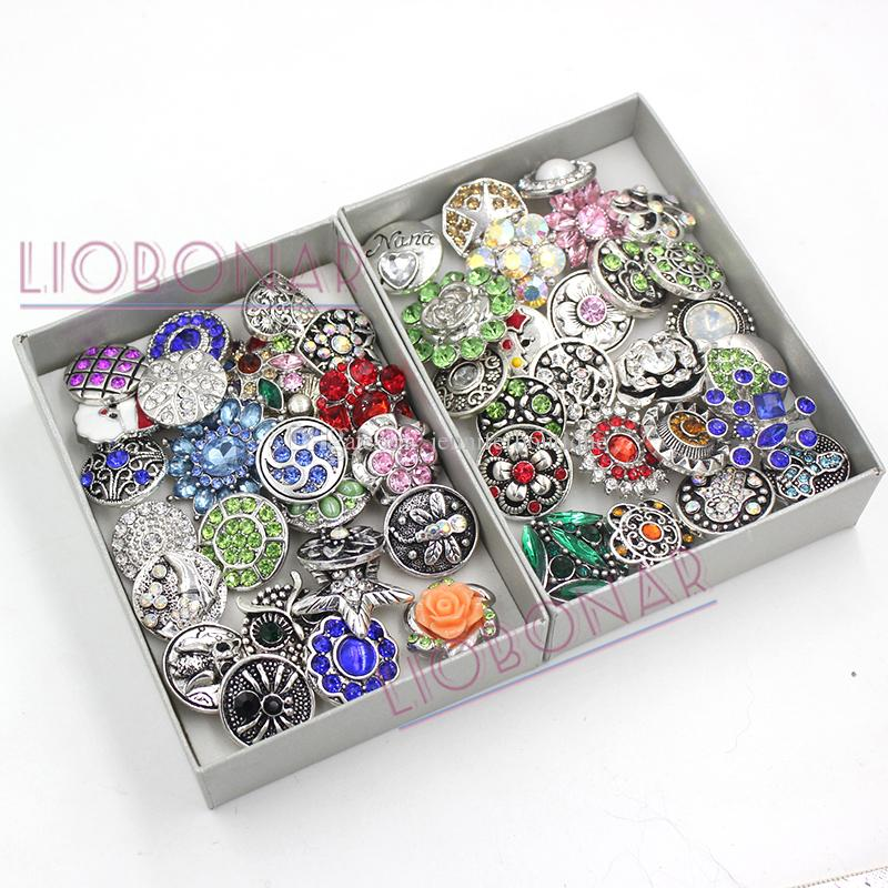 Free Shipping Fashion Wholesale Interchangeable Mix Metal Button Rhinestone Crystal Buttons for Snap Jewelry Snap Bracelet Snap Necklace