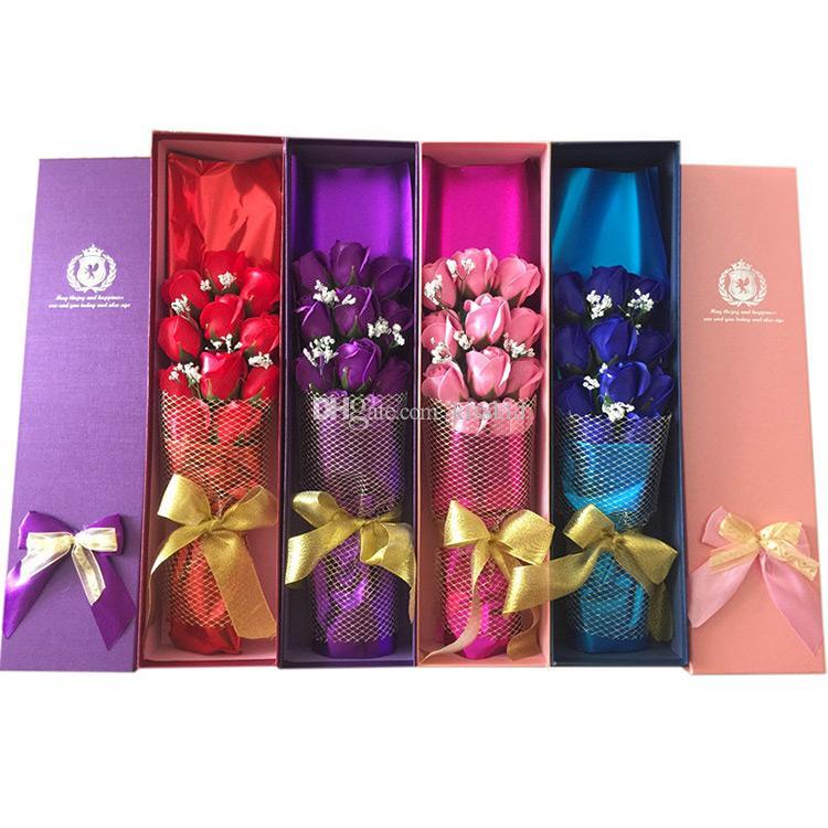 Geschenk-Valentinsgruß-Hochzeits-Seifen-Blumen-Mutter-TagesRosenblumenblatt-Geburtstagspapier-Seife (11pcs Rose in 1 Kasten) wählen Farbe