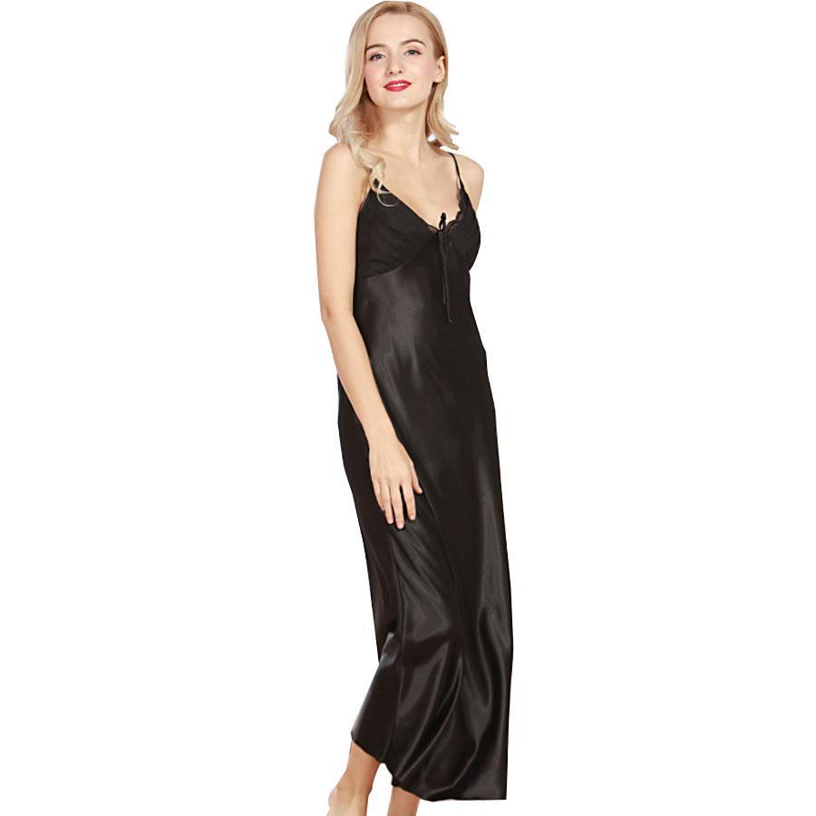 Toptan Satış - [Ode Sevinç] Seksi Kadınlar Gecelik ipek Pijama Yaz kolsuz ayak bileği uzunluğu Elbise Salonu Uyku gömlek katı uzun elbise