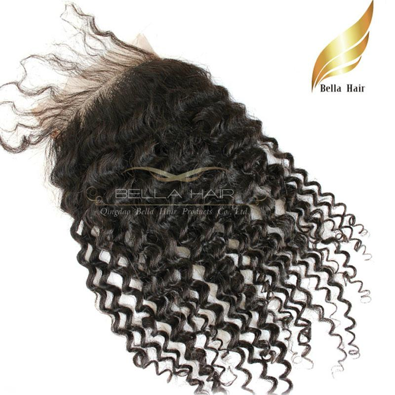 Curly Indian Virgin Remy Human Hair Extensions Lace Closure Weave Free Part Natural Color Bellahair Free Shipping