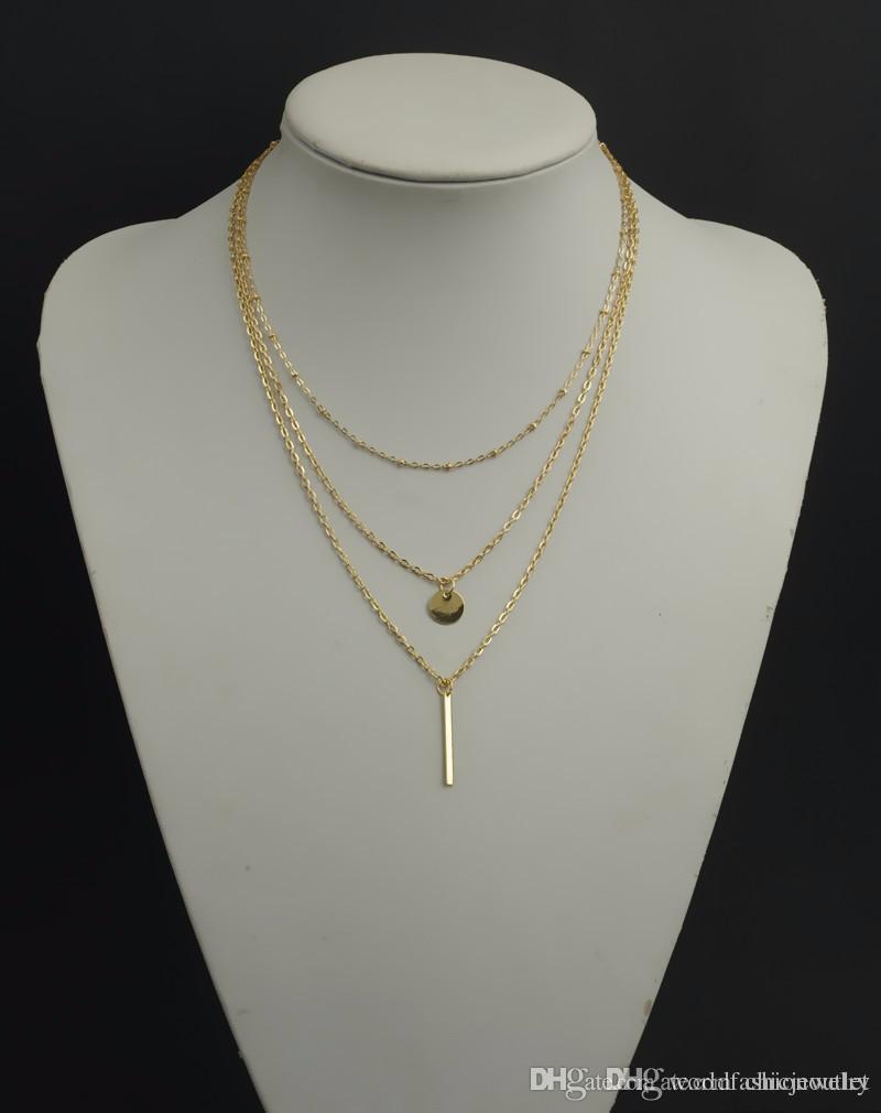 Moda jóias cadeia simples Colares Sexy Mulheres Colar Europeia ouro prata banhado a multi camadas Bar Coin Clavícula 3Layers grátis DHL