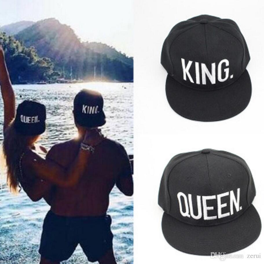 AYJMA Mode Roi Queen Hip Hop Casquettes de Baseball Broderie Lettre Couples Amoureux Papa Chapeau R/églable Snapback Chapeaux De Soleil pour Hommes Femmes