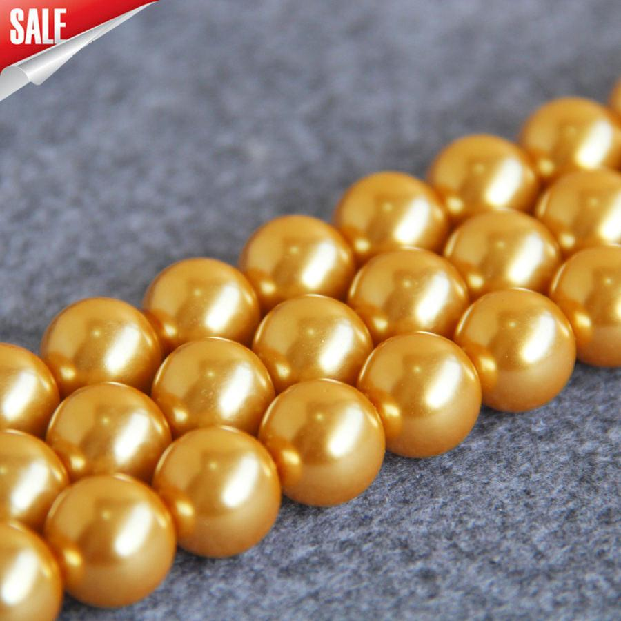 New For Necklace&Bracelet Accessories 14mm Golden Shell pearl beads Seashell DIY gift for women girl loose beads Jewelry 15inch