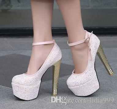 Wholesale New Arrival Hot Sale Specials Super Fashion Sweet Girl Sexy Belt Buckle Sequine Platform Noble Knight Heels Dress Shoes EU34-39
