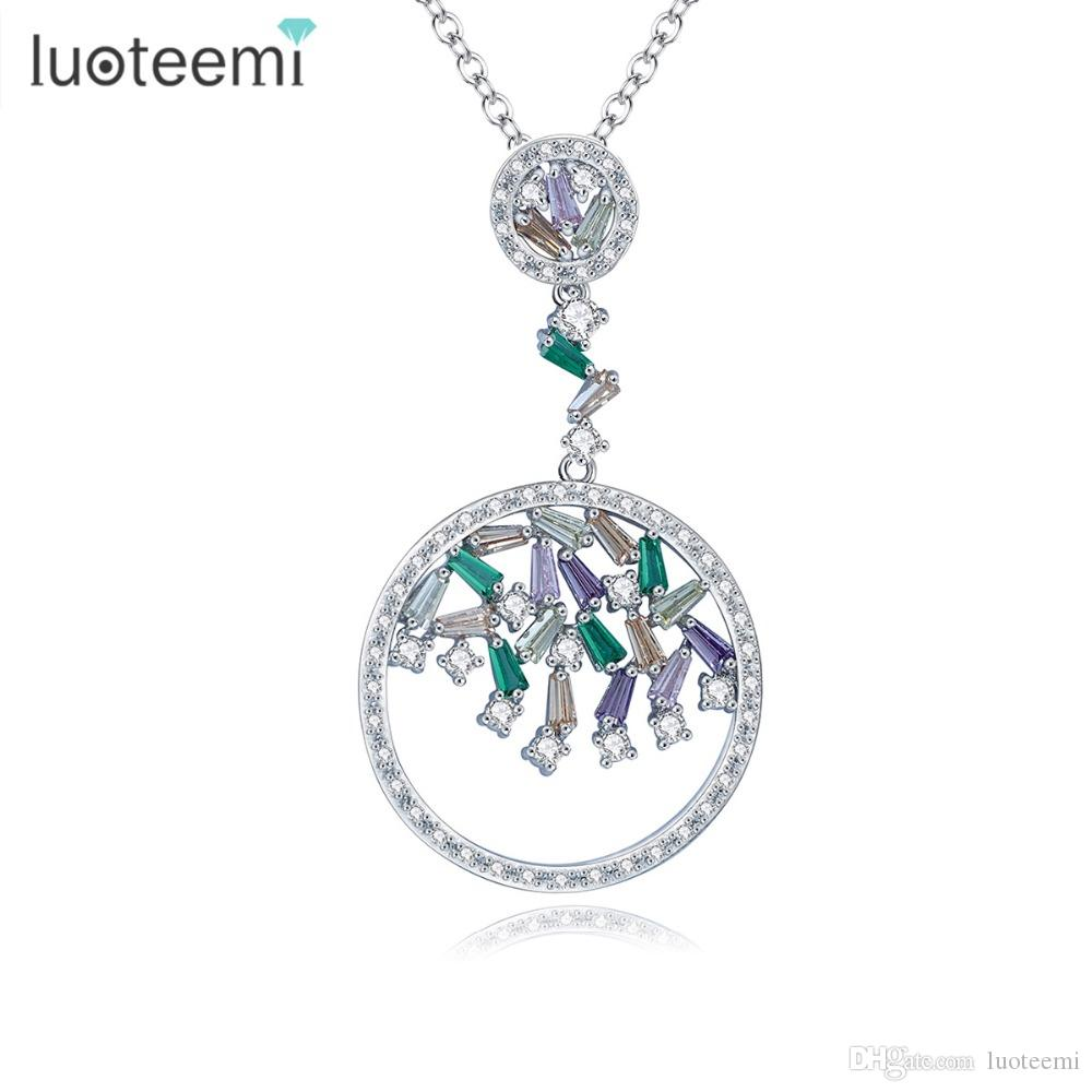 LUOTEEMI 2017 New Trendy Link Chain Colorful Round Ladder CZ Pendant Jewelry Clear Multi Zircon Necklace Girl Christmas Gifts