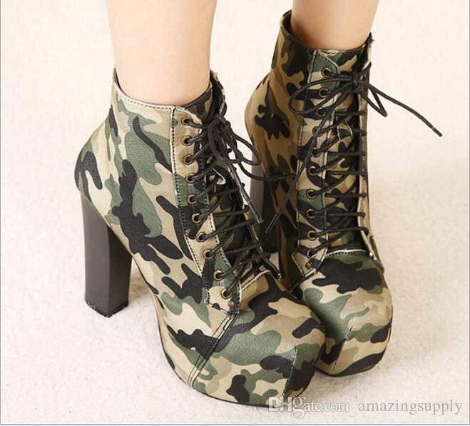 Novelty Camouflage Army Green Shoes Round Toe Superhign 14cm Bottom High Heels Platform Pumps Slip On Woman Casual Shoes Large Size 35 40 Italian