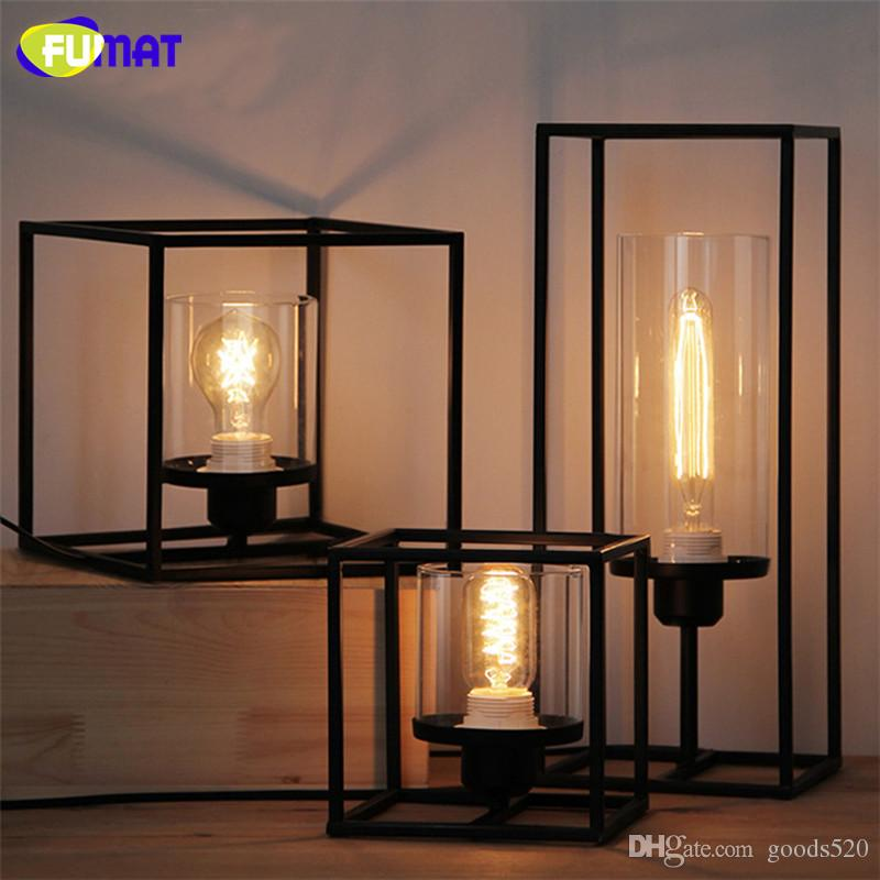 FUMAT Industrial Retro Lamp Table Light Decoration Bedside Desk Lamp American Simple Abajur Para Quart Bar Cafe Cubic Table Lamp