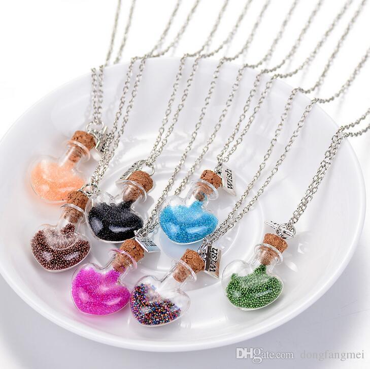 Лучший подарок океан дрейфует бутылка ожерелье мода рисовая бисера сердца, желающий бутылку орнамент WFN282 (с цепью) смешать Заказать 20 штук много
