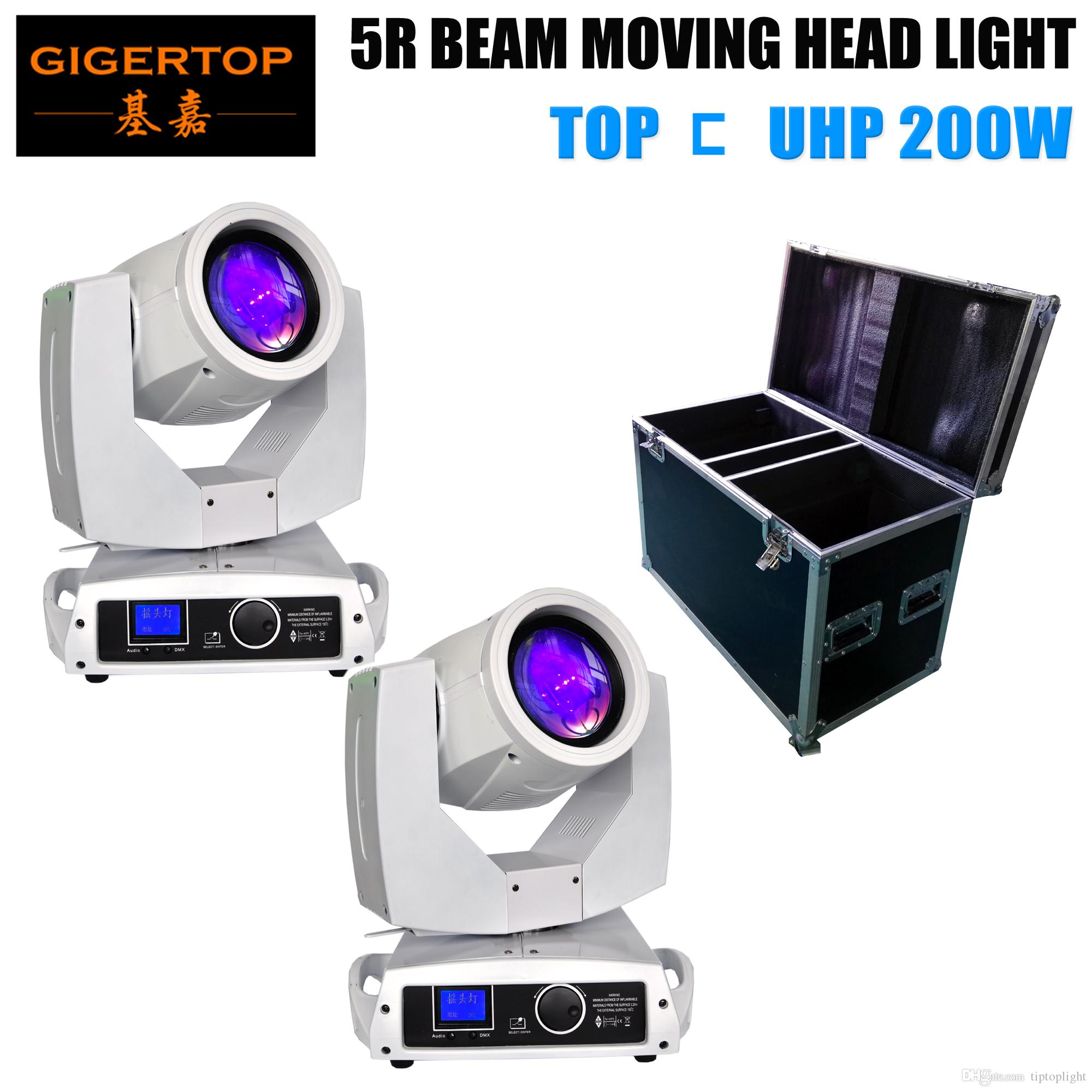 China Manufacturer 2in1 Road Case Pack White Color 200W 5R Sharpy Beam Stage Moving Head Light 16 DMX Channels with Hook/Clamps
